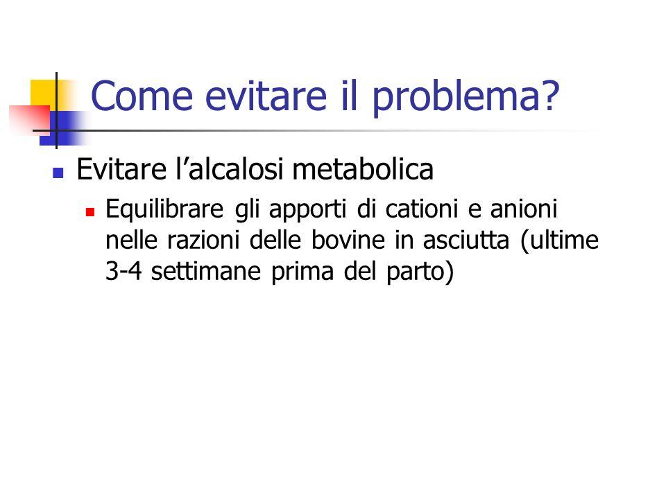Come evitare il problema? Evitare lalcalosi metabolica Equilibrare gli apporti di cationi e anioni nelle razioni delle bovine in asciutta (ultime 3-4