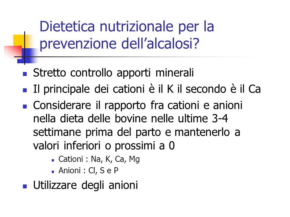Dietetica nutrizionale per la prevenzione dellalcalosi? Stretto controllo apporti minerali Il principale dei cationi è il K il secondo è il Ca Conside