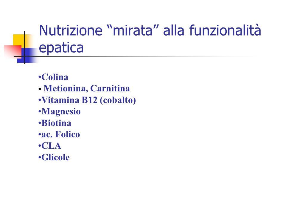 Colina Metionina, Carnitina Vitamina B12 (cobalto) Magnesio Biotina ac. Folico CLA Glicole Nutrizione mirata alla funzionalità epatica