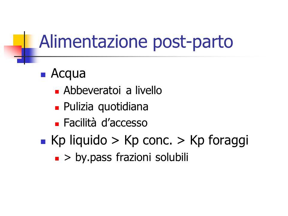 Alimentazione post-parto Acqua Abbeveratoi a livello Pulizia quotidiana Facilità daccesso Kp liquido > Kp conc. > Kp foraggi > by.pass frazioni solubi