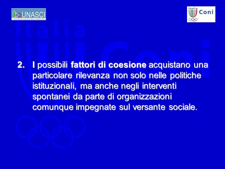 2.I possibili fattori di coesione acquistano una particolare rilevanza non solo nelle politiche istituzionali, ma anche negli interventi spontanei da parte di organizzazioni comunque impegnate sul versante sociale.