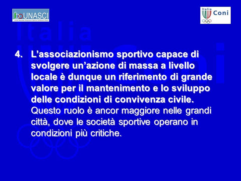 4.Lassociazionismo sportivo capace di svolgere unazione di massa a livello locale è dunque un riferimento di grande valore per il mantenimento e lo sviluppo delle condizioni di convivenza civile.