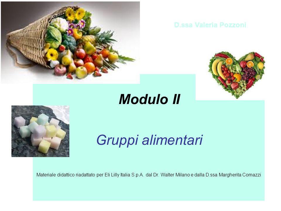 Modulo II Gruppi alimentari Materiale didattico riadattato per Eli Lilly Italia S.p.A. dal Dr. Walter Milano e dalla D.ssa Margherita Comazzi D.ssa Va