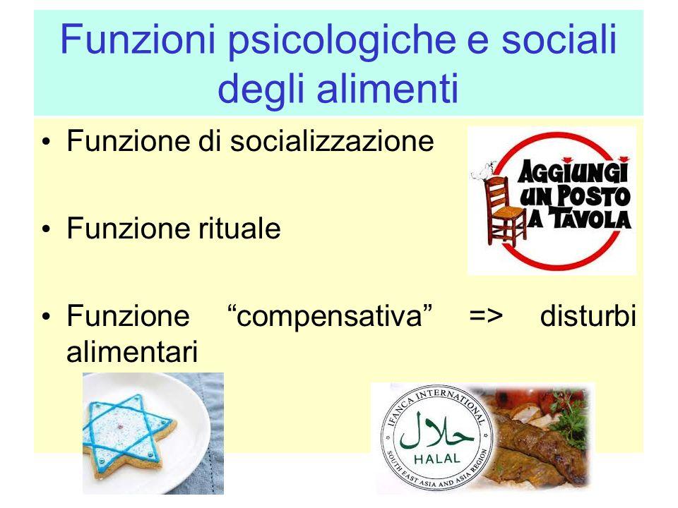 Funzioni psicologiche e sociali degli alimenti Funzione di socializzazione Funzione rituale Funzione compensativa => disturbi alimentari