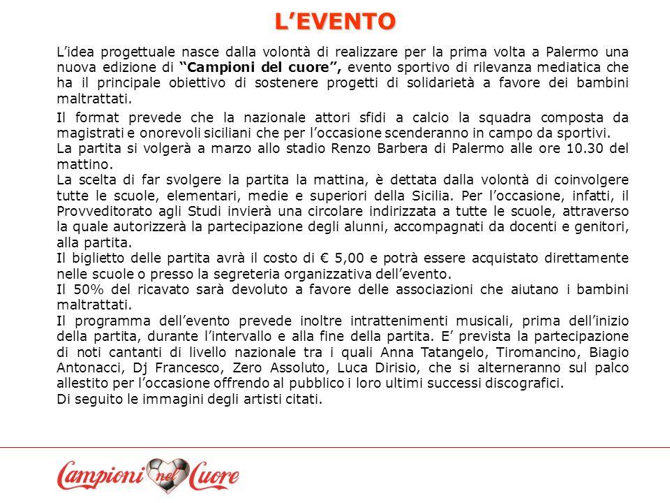LEVENTO Lidea progettuale nasce dalla volontà di realizzare per la prima volta a Palermo una nuova edizione di Campioni del cuore, evento sportivo di rilevanza mediatica che ha il principale obiettivo di sostenere progetti di solidarietà a favore dei bambini maltrattati.