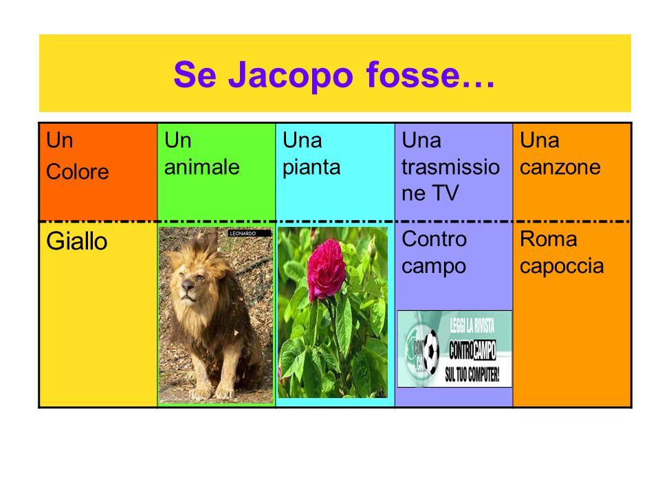 Se Jacopo fosse… Un Colore Un animale Una pianta Una trasmissio ne TV Una canzone Giallo Un LeoneUna RosaContro campo Roma capoccia
