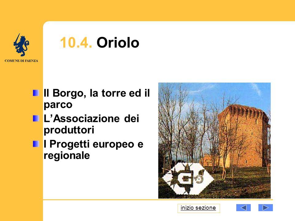 10.4. Oriolo Il Borgo, la torre ed il parco LAssociazione dei produttori I Progetti europeo e regionale inizio sezione