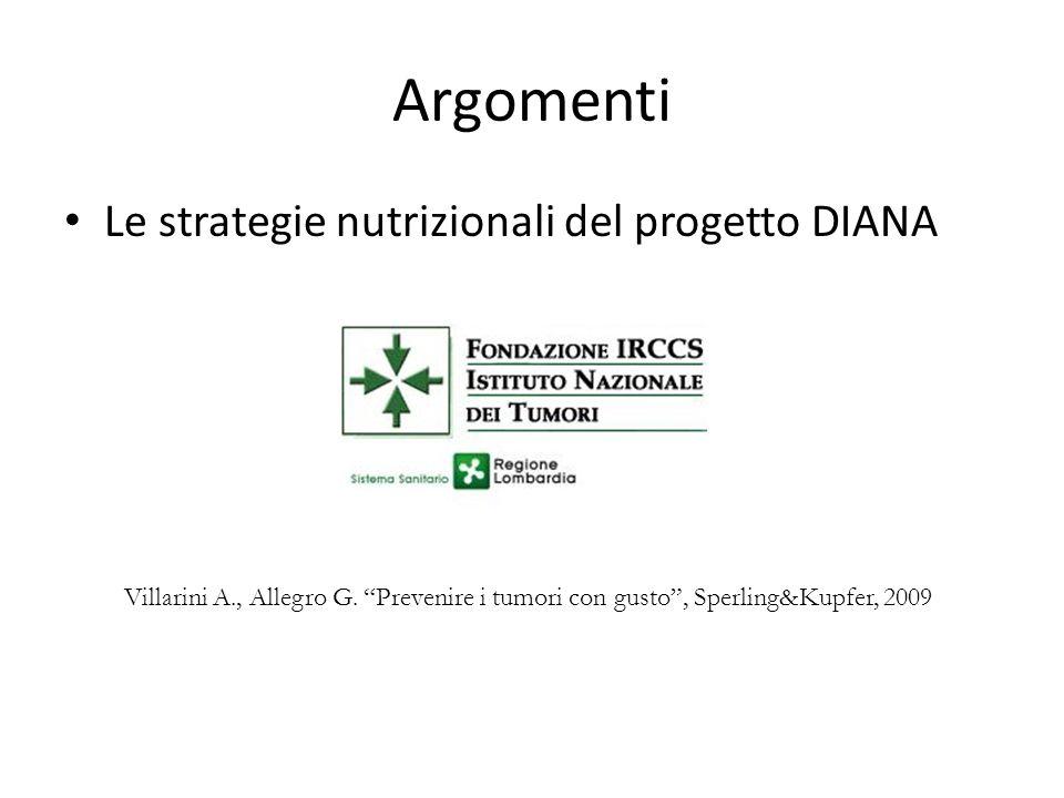 Argomenti Le strategie nutrizionali del progetto DIANA Villarini A., Allegro G. Prevenire i tumori con gusto, Sperling&Kupfer, 2009