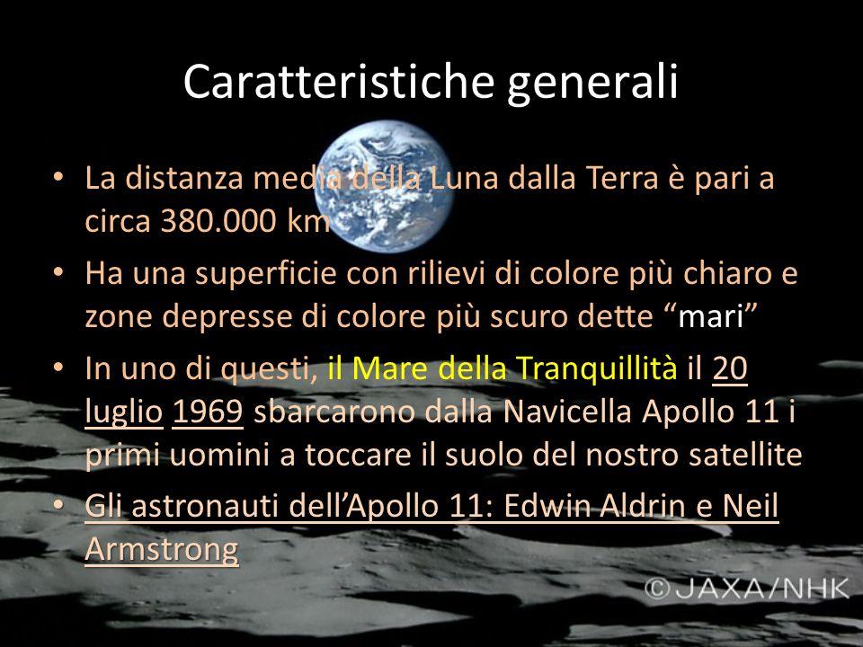 Caratteristiche generali La distanza media della Luna dalla Terra è pari a circa 380.000 km Ha una superficie con rilievi di colore più chiaro e zone