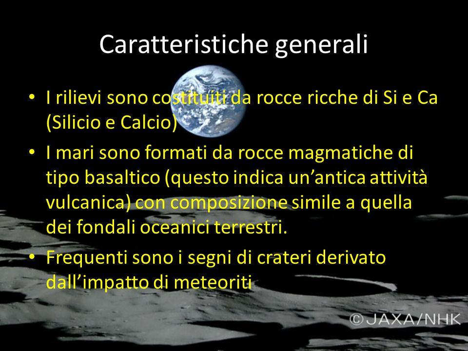Caratteristiche generali I rilievi sono costituiti da rocce ricche di Si e Ca (Silicio e Calcio) I mari sono formati da rocce magmatiche di tipo basal