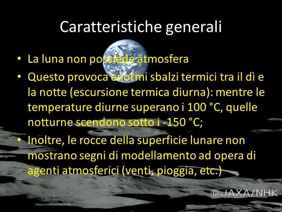 Caratteristiche generali La luna non possiede atmosfera Questo provoca enormi sbalzi termici tra il dì e la notte (escursione termica diurna): mentre
