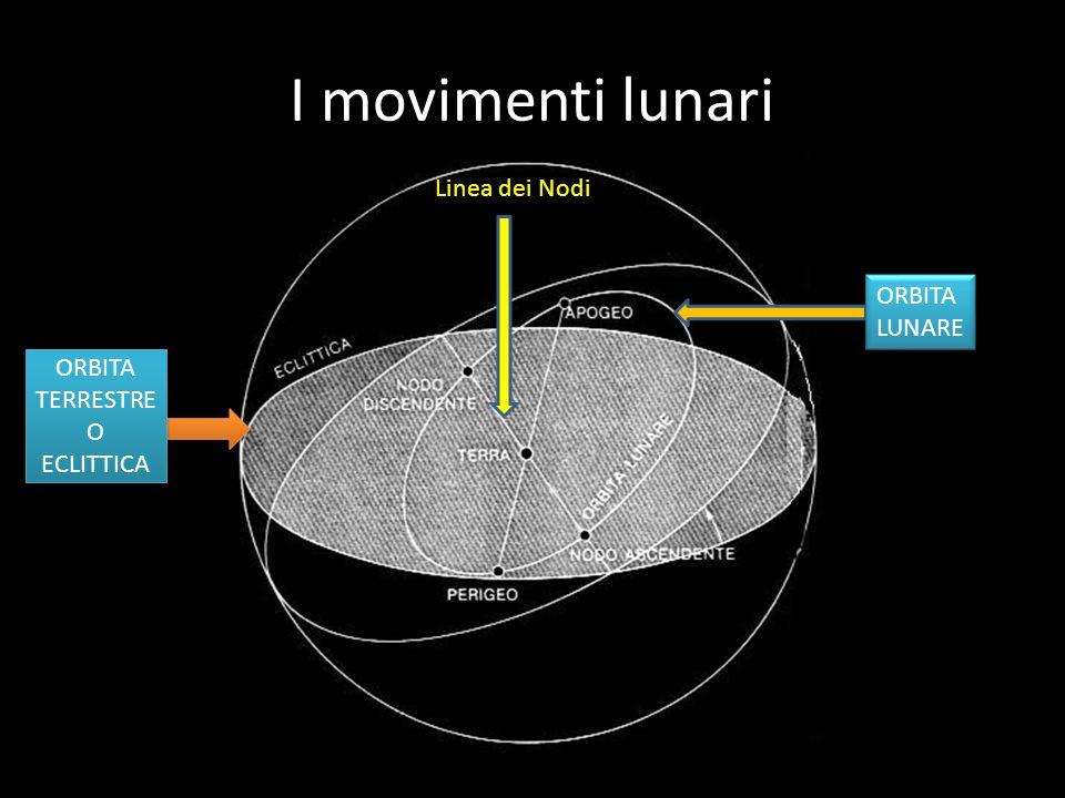I movimenti della Luna ROTAZIONE RIVOLUZIONE APOGEO PERIGEO La luna compie un movimento di ROTAZIONE intorno al suo asse e un movimento di RIVOLUZIONE intorno alla Terra lungo unorbita ellittica che presenta un punto di massima distanza dalla Terra detto APOGEO (405.000 km) e un punto di minima distanza detto PERIGEO (363.000 km).