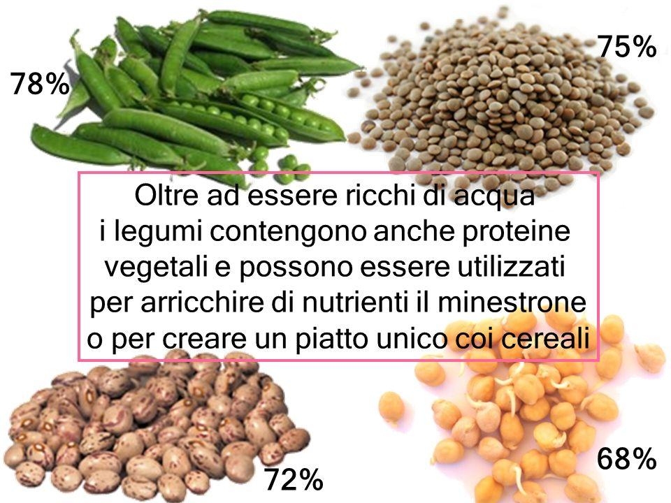 Oltre ad essere ricchi di acqua i legumi contengono anche proteine vegetali e possono essere utilizzati per arricchire di nutrienti il minestrone o pe