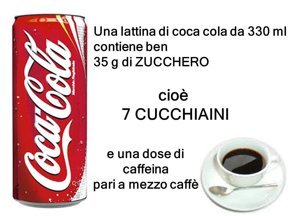 Una lattina di coca cola da 330 ml contiene ben 35 g di ZUCCHERO cioè 7 CUCCHIAINI e una dose di caffeina pari a mezzo caffè