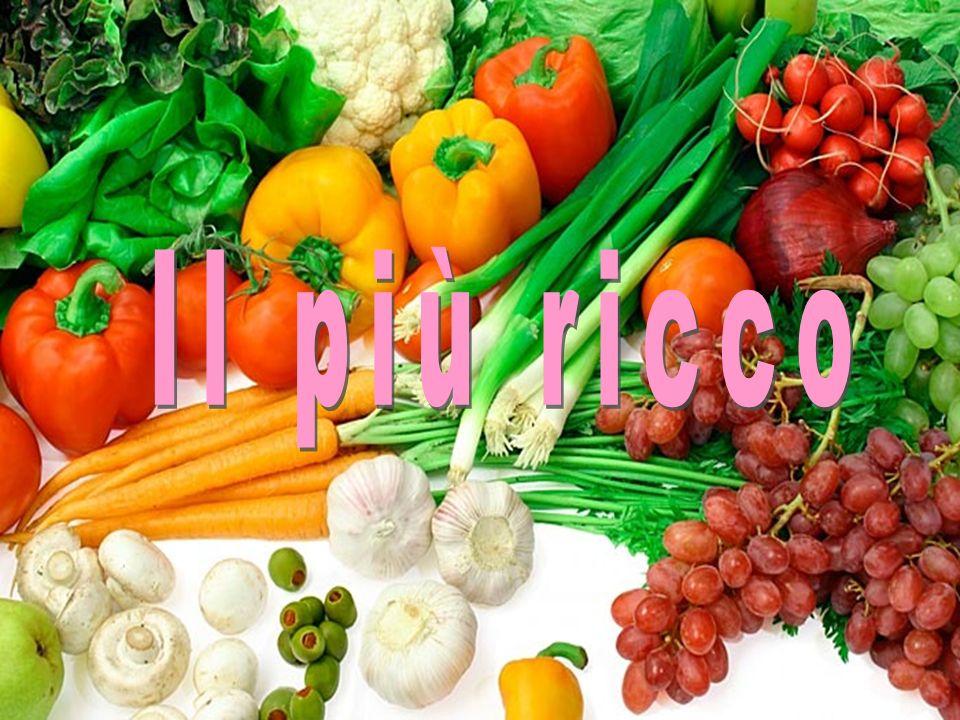 In generale la verdura ha un contenuto di acqua variabile dal 97% al 50% 96-94% 93-90% 89-87% Oltre allelevato contenuto di vitamine e sali minerali