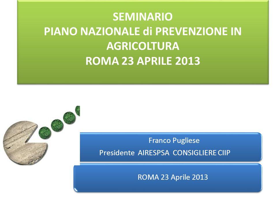 SEMINARIO PIANO NAZIONALE di PREVENZIONE IN AGRICOLTURA ROMA 23 APRILE 2013 Franco Pugliese Presidente AIRESPSA CONSIGLIERE CIIP ROMA 23 Aprile 2013