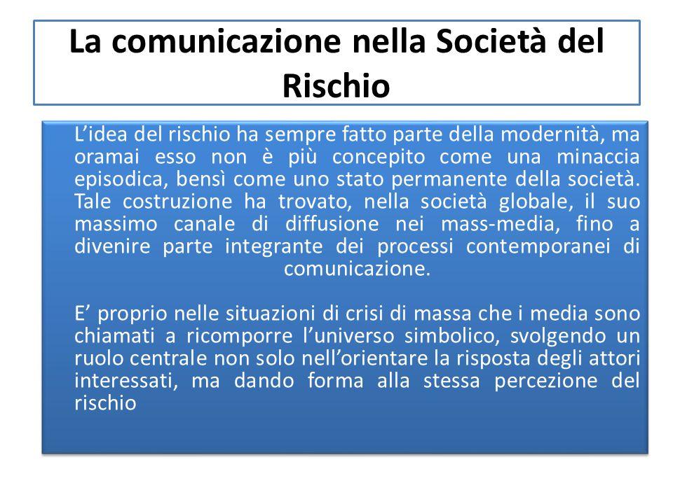 La comunicazione nella Società del Rischio Lidea del rischio ha sempre fatto parte della modernità, ma oramai esso non è più concepito come una minaccia episodica, bensì come uno stato permanente della società.