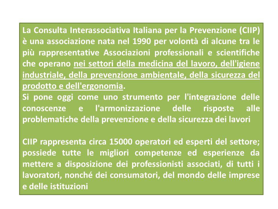 La Consulta Interassociativa Italiana per la Prevenzione (CIIP) è una associazione nata nel 1990 per volontà di alcune tra le più rappresentative Associazioni professionali e scientifiche che operano nei settori della medicina del lavoro, dell igiene industriale, della prevenzione ambientale, della sicurezza del prodotto e dell ergonomia.
