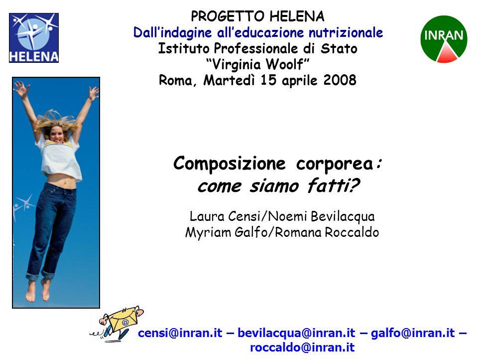 PROGETTO HELENA Composizione corporea Livello 1 atomico molecolare cellulare tessutale corpo intero Livello 2 Livello 3 Livello 4 Livello 5 carboidratilipidiproteinemineraliacqua extracell.