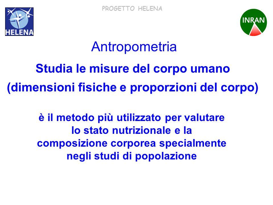 PROGETTO HELENA è il metodo più utilizzato per valutare lo stato nutrizionale e la composizione corporea specialmente negli studi di popolazione Antro
