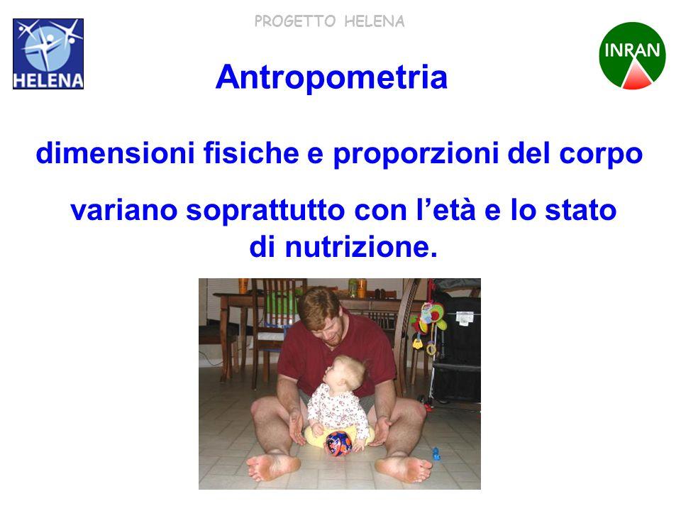 PROGETTO HELENA Antropometria variano soprattutto con letà e lo stato di nutrizione. dimensioni fisiche e proporzioni del corpo