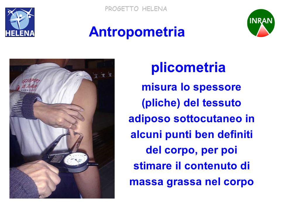 PROGETTO HELENA plicometria misura lo spessore (pliche) del tessuto adiposo sottocutaneo in alcuni punti ben definiti del corpo, per poi stimare il co
