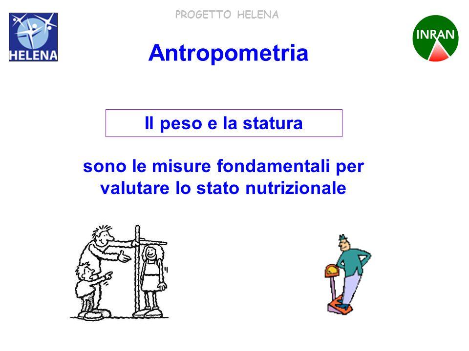 PROGETTO HELENA Il peso e la statura sono le misure fondamentali per valutare lo stato nutrizionale Antropometria