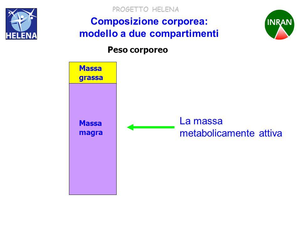 PROGETTO HELENA Composizione corporea: modello a due compartimenti La massa grassa contiene solo lipidi Massa grassa Massa magra Acqua proteine minerali glicogeno Peso corporeo Massa grassa Acqua Proteine Minerali Glicogeno