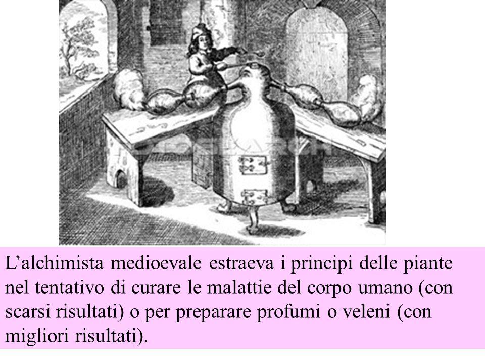 Lalchimista medioevale estraeva i principi delle piante nel tentativo di curare le malattie del corpo umano (con scarsi risultati) o per preparare profumi o veleni (con migliori risultati).