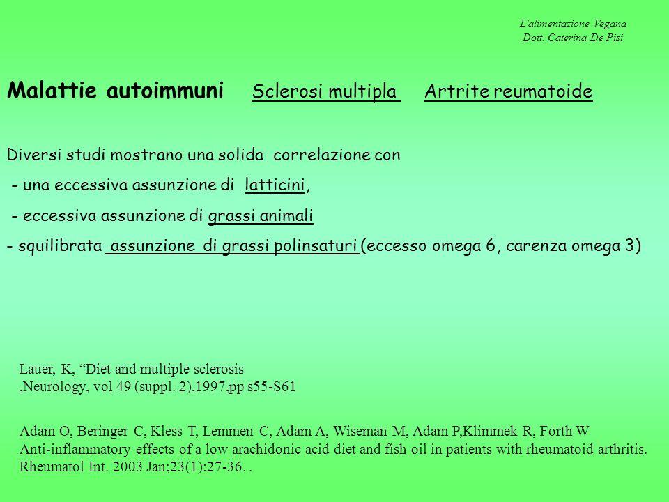 L'alimentazione Vegana Dott. Caterina De Pisi Malattie autoimmuni Sclerosi multipla Artrite reumatoide Diversi studi mostrano una solida correlazione