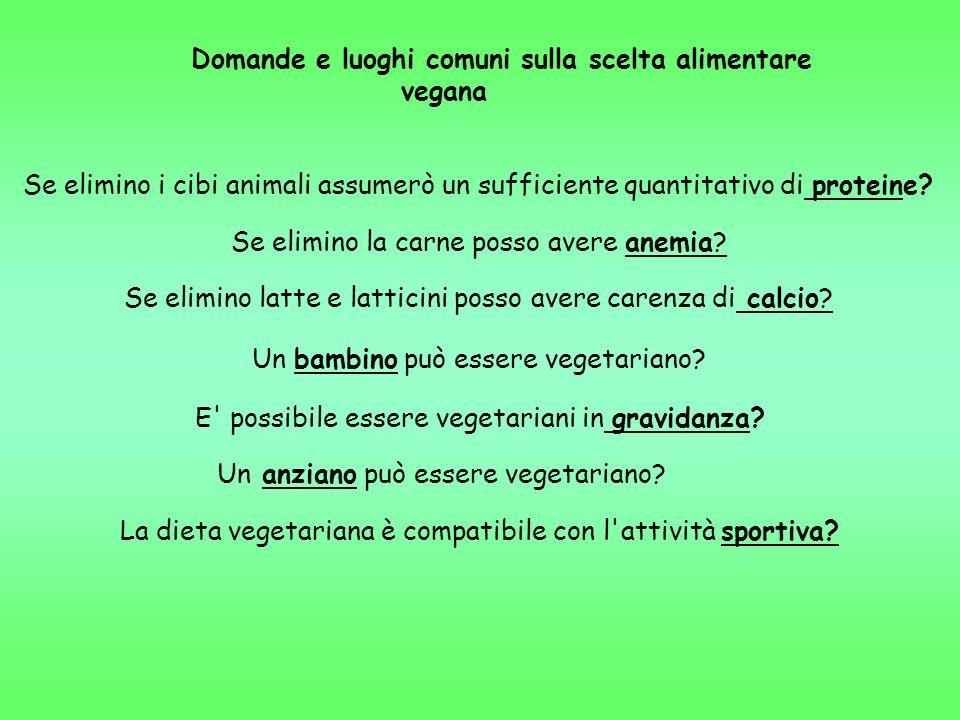 Domande e luoghi comuni sulla scelta alimentare vegana Se elimino i cibi animali assumerò un sufficiente quantitativo di proteine? Se elimino la carne