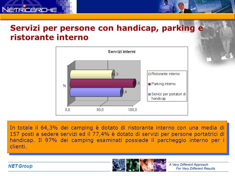 NET Group Servizi per persone con handicap, parking e ristorante interno In totale il 64,3% dei camping è dotato di ristorante interno con una media d