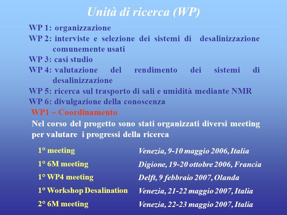 WP 1: organizzazione WP 2: interviste e selezione dei sistemi di desalinizzazione comunemente usati WP 3: casi studio WP 4: valutazione del rendimento dei sistemi di desalinizzazione WP 5: ricerca sul trasporto di sali e umidità mediante NMR WP 6: divulgazione della conoscenza Unità di ricerca (WP) Nel corso del progetto sono stati organizzati diversi meeting per valutare i progressi della ricerca 1° meeting 1° 6M meeting 1° WP4 meeting 1° Workshop Desalination 2° 6M meeting Venezia, 9-10 maggio 2006, Italia Digione, 19-20 ottobre 2006, Francia Delft, 9 febbraio 2007, Olanda Venezia, 21-22 maggio 2007, Italia Venezia, 22-23 maggio 2007, Italia WP1 – Coordinamento