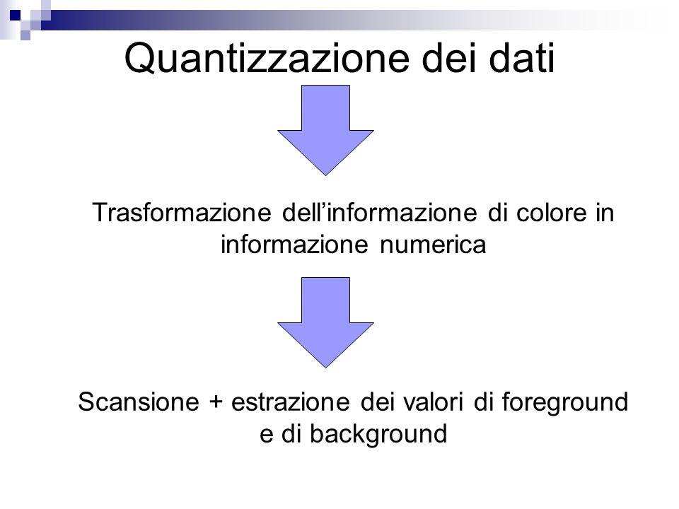 Trasformazione dellinformazione di colore in informazione numerica Scansione + estrazione dei valori di foreground e di background