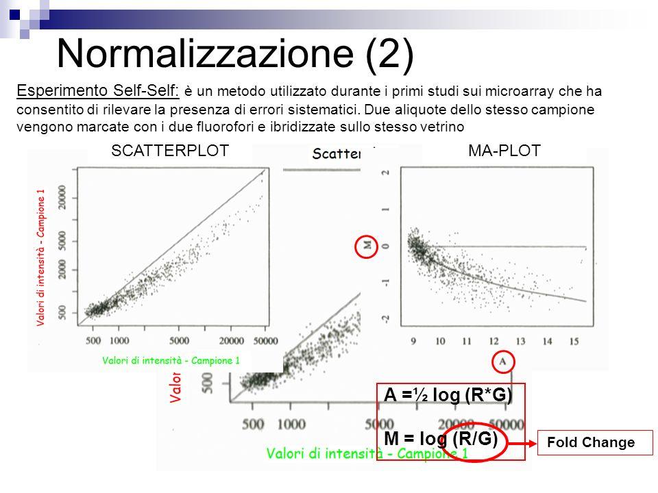 Normalizzazione (2) Esperimento Self-Self: è un metodo utilizzato durante i primi studi sui microarray che ha consentito di rilevare la presenza di er