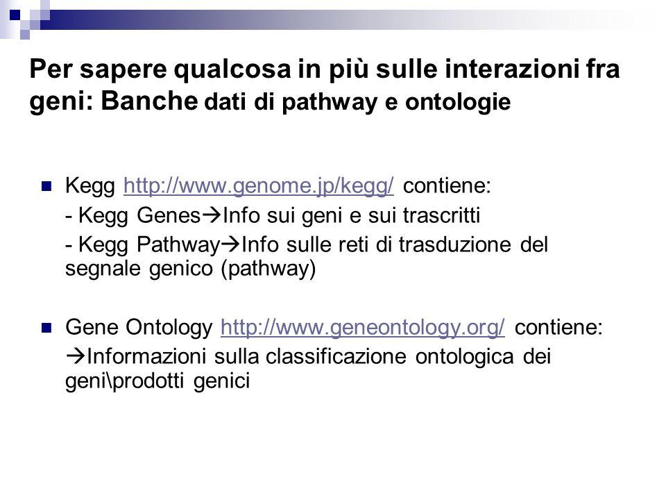 Per sapere qualcosa in più sulle interazioni fra geni: Banche dati di pathway e ontologie Kegg http://www.genome.jp/kegg/ contiene:http://www.genome.j