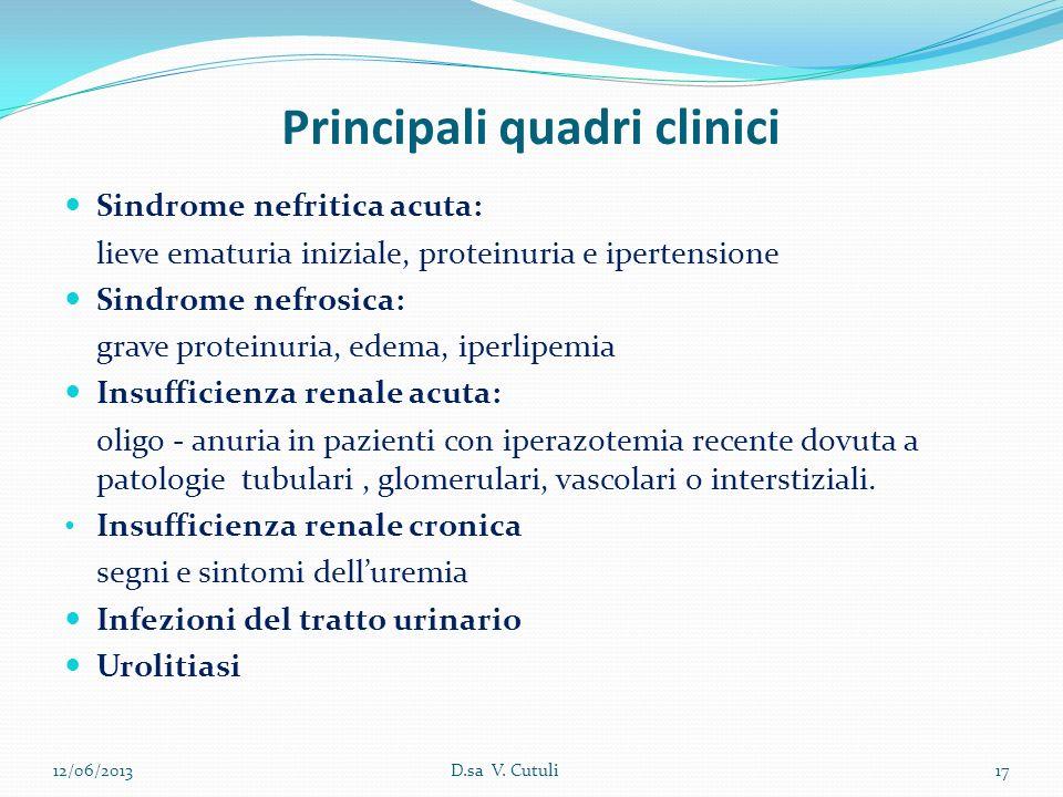 Principali quadri clinici Sindrome nefritica acuta: lieve ematuria iniziale, proteinuria e ipertensione Sindrome nefrosica: grave proteinuria, edema,