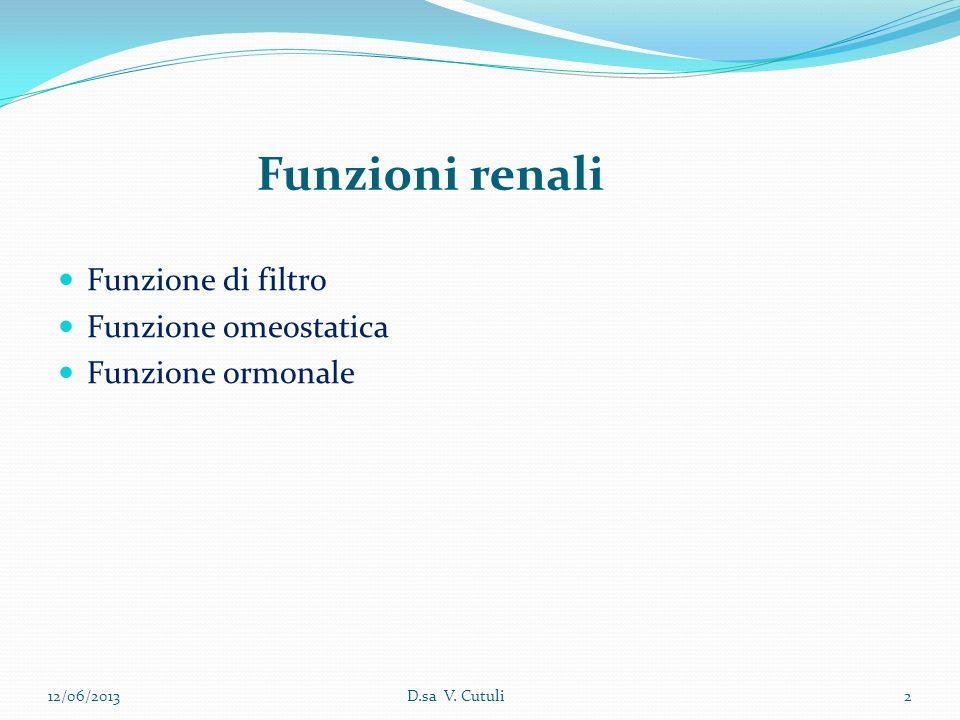12/06/20132D.sa V. Cutuli Funzione di filtro Funzione omeostatica Funzione ormonale Funzioni renali