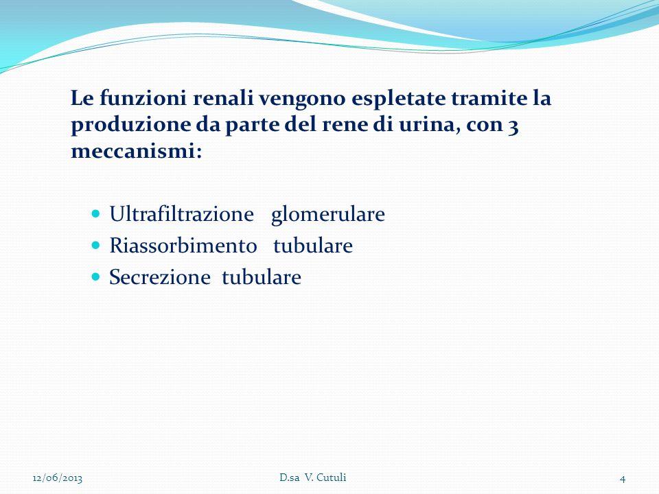 12/06/20134D.sa V. Cutuli Le funzioni renali vengono espletate tramite la produzione da parte del rene di urina, con 3 meccanismi: Ultrafiltrazione gl