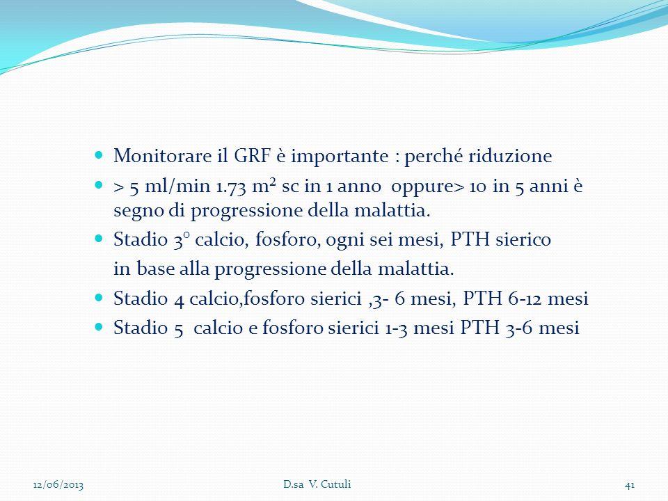 Monitorare il GRF è importante : perché riduzione > 5 ml/min 1.73 m² sc in 1 anno oppure> 10 in 5 anni è segno di progressione della malattia. Stadio