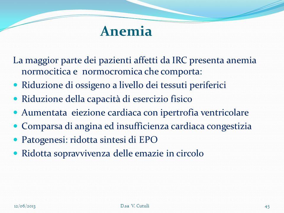 Anemia La maggior parte dei pazienti affetti da IRC presenta anemia normocitica e normocromica che comporta: Riduzione di ossigeno a livello dei tessu