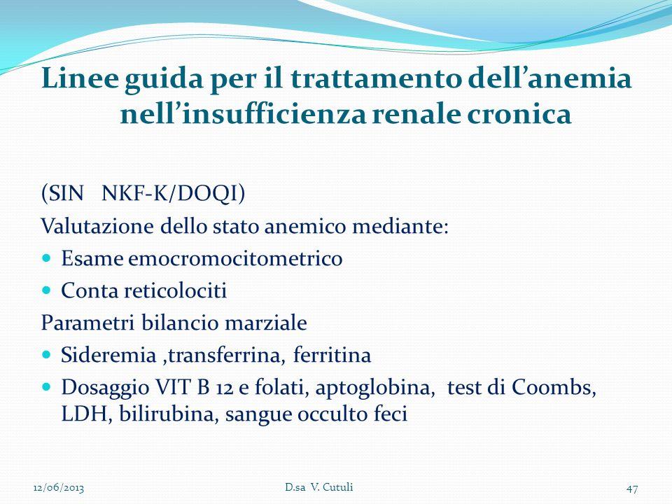 Linee guida per il trattamento dellanemia nellinsufficienza renale cronica (SIN NKF-K/DOQI) Valutazione dello stato anemico mediante: Esame emocromoci