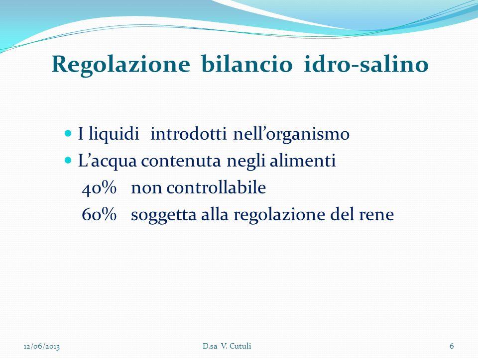 I liquidi introdotti nellorganismo Lacqua contenuta negli alimenti 40% non controllabile 60% soggetta alla regolazione del rene 12/06/2013D.sa V. Cutu