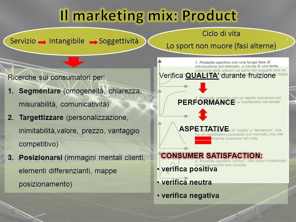 Servizio Intangibile Soggettività Ricerche sui consumatori per: 1.Segmentare (omogeneità, chiarezza, misurabilità, comunicatività) 2.Targettizzare (pe
