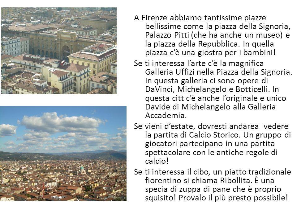 A Firenze abbiamo tantissime piazze bellissime come la piazza della Signoria, Palazzo Pitti (che ha anche un museo) e la piazza della Repubblica. In q