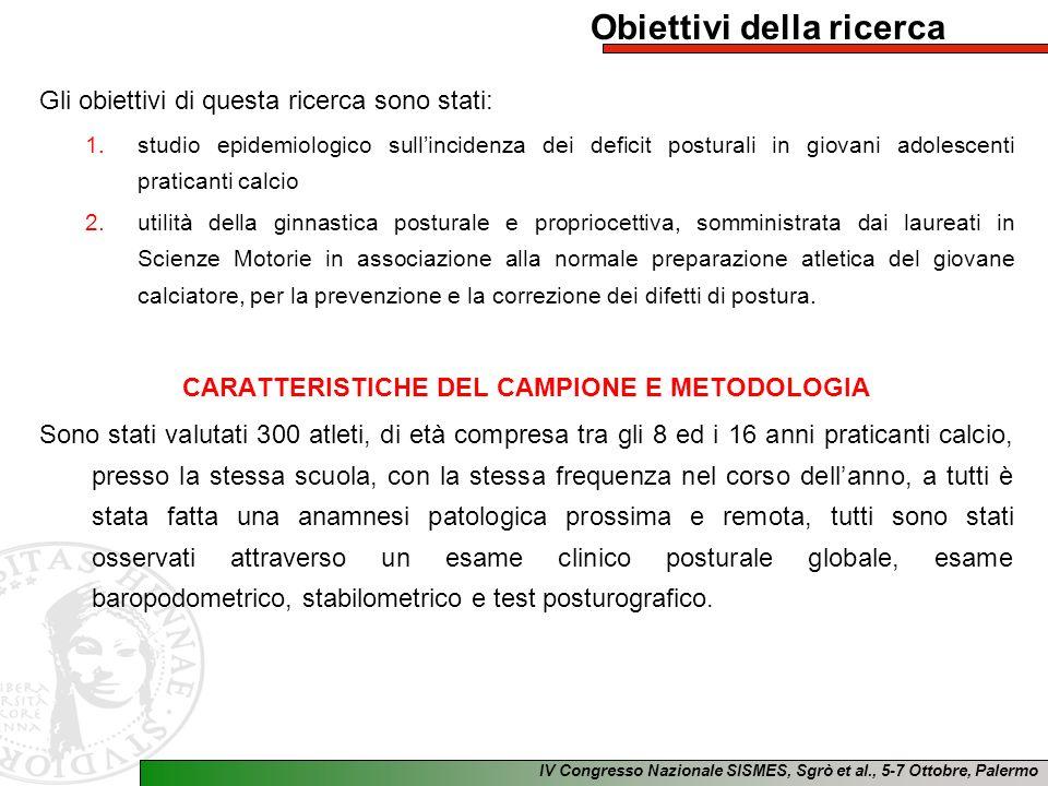 IV Congresso Nazionale SISMES, Sgrò et al., 5-7 Ottobre, Palermo Obiettivi della ricerca Gli obiettivi di questa ricerca sono stati: 1.studio epidemio