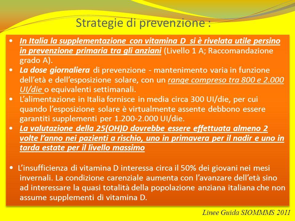 Strategie di prevenzione : In Italia la supplementazione con vitamina D si è rivelata utile persino in prevenzione primaria tra gli anziani (Livello 1