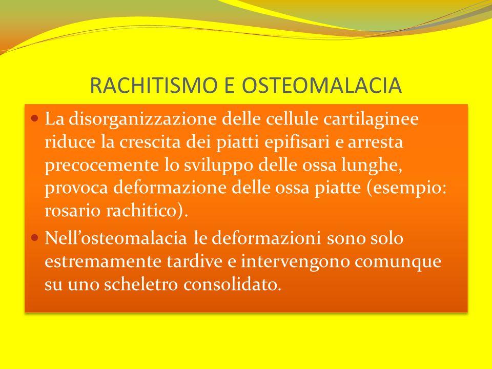 RACHITISMO E OSTEOMALACIA La disorganizzazione delle cellule cartilaginee riduce la crescita dei piatti epifisari e arresta precocemente lo sviluppo d
