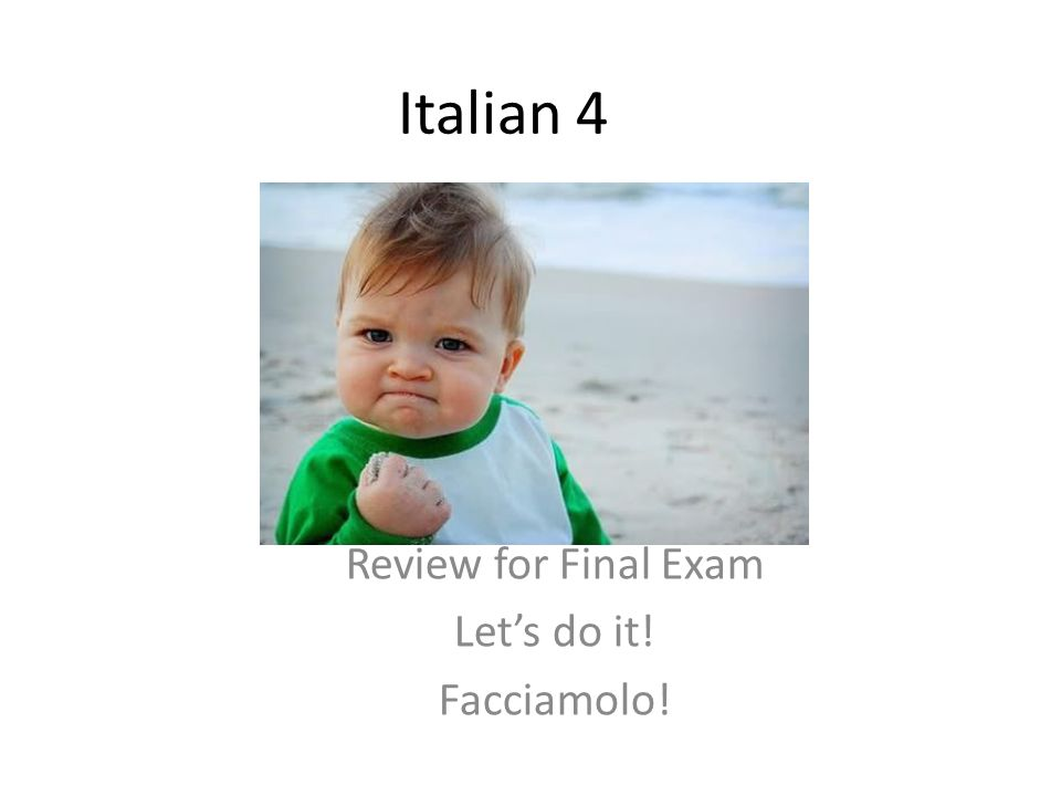 Italian 4 Review for Final Exam Lets do it! Facciamolo!