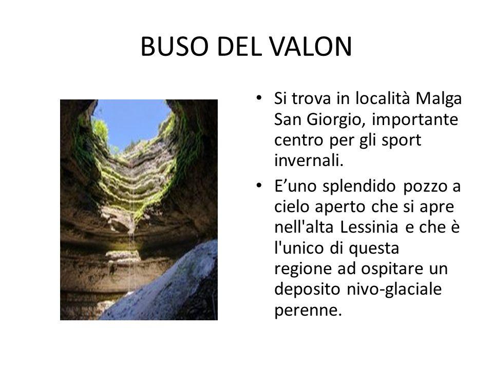 BUSO DEL VALON Si trova in località Malga San Giorgio, importante centro per gli sport invernali. Euno splendido pozzo a cielo aperto che si apre nell